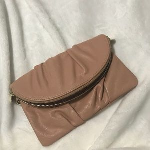 Nude blush envelope clutch
